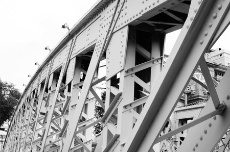 bridge footing: Support above the bridge steel structure close-up