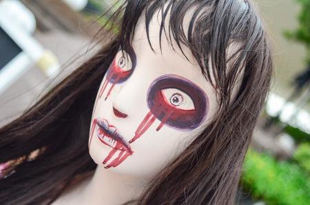 frenzy: Halloween Doll woman creepy zombie Stock Photo