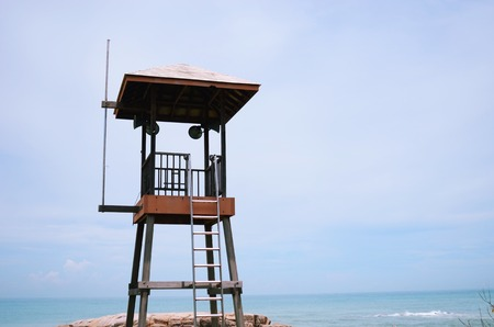 lifeguard tower: Old wooden lifeguard tower on a beach