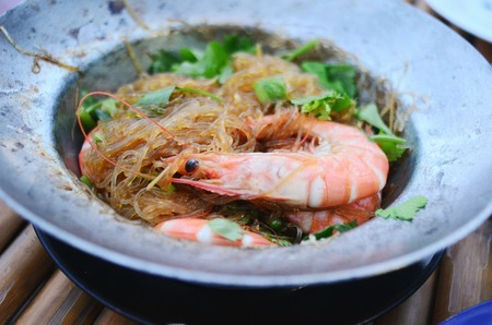 vermicelli: Baked Prawns with vermicelli and herb