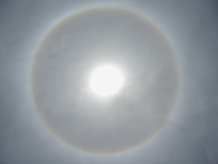corona: blurry of corona, ring around the sun