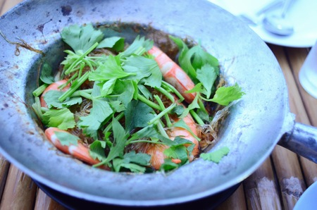 vermicelli: prawns with vermicelli in pot Stock Photo