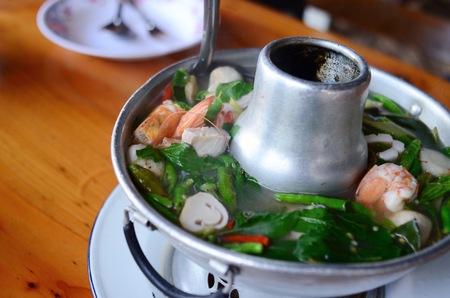 popular soup: Tom yum thai spice soup, thai food popular