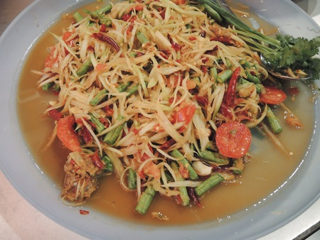 green papaya salad: Green papaya salad Thai cuisine spicy delicious  SOM TAM