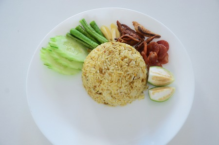 omlet: rice with boil egg shrimp paste chili sauce and vetgetable original thai food Stock Photo