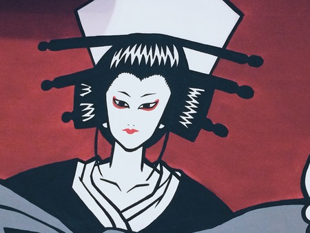 tonality: Original painting Modern art Beautiful geisha Stock Photo