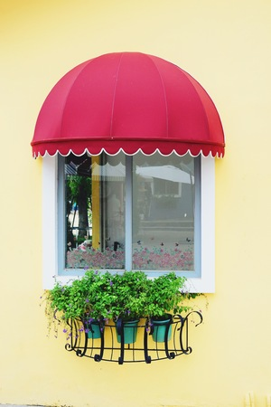 shop window: Colorful architectural window style coffee shop