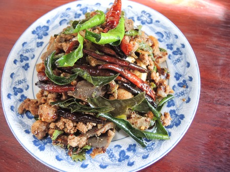 isaan: Spicy larb food thailand on the dish