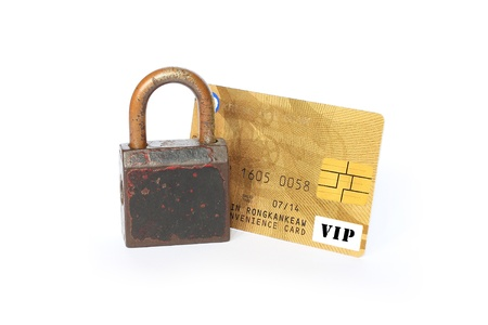 Credit card and Padlock  Concept of a safe payment photo