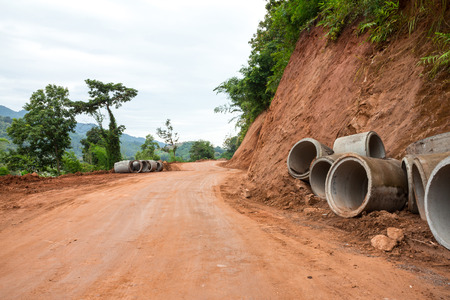 site: Concrete drainage pipe on a construction site in Thailand Stock Photo