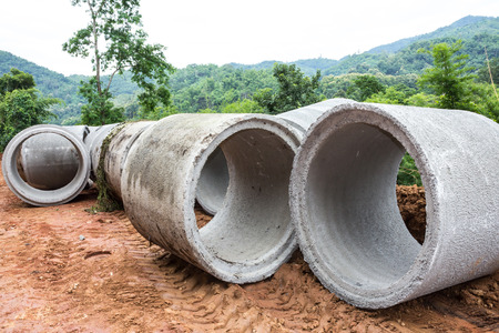 Concrete drainage pipe on a construction site in Thailand Stock Photo