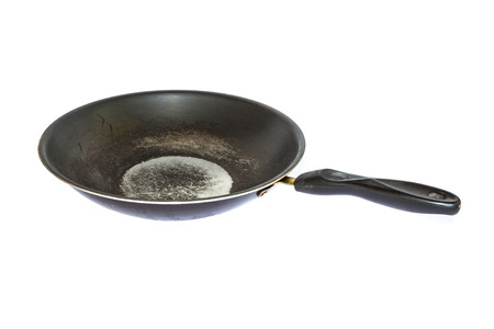 fryingpan: Old dirty frying-pan on white background