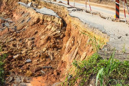 broken road by an earthquake or landslide