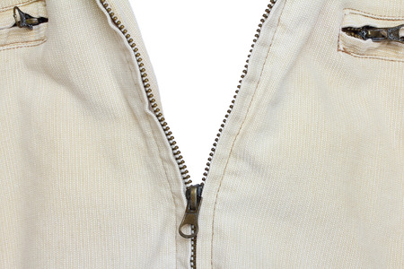 unbuttoned: Close-up of Zipper, isolated
