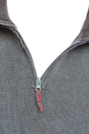 unbuttoned: Close-up of Zipper, isolated Stock Photo