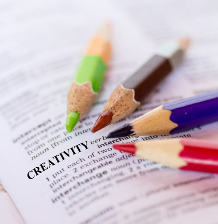 creative communication: The word CREATIVITY with color pencils