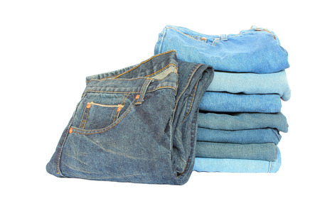 garb: stack of blue denim clothes