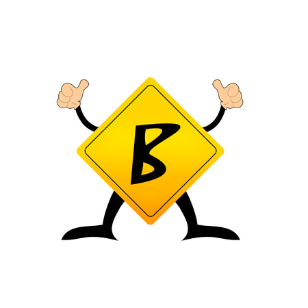 Yellow Label B letter Vector