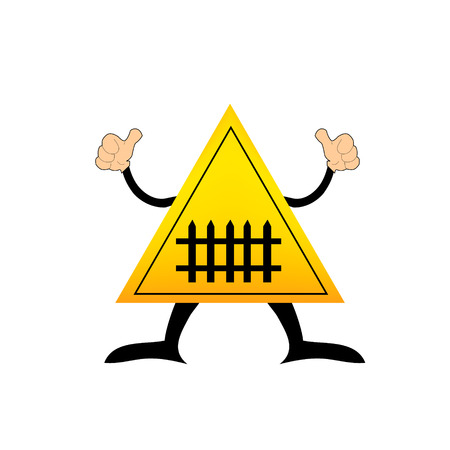 railroad crossing: Level Crossing with Barrier Sign- Vector