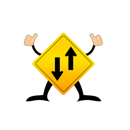 Two way traffic sign, vector illustration Vector
