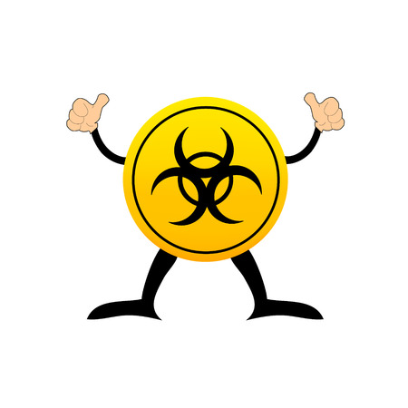 Bio-hazard symbol on a yellow button Vector