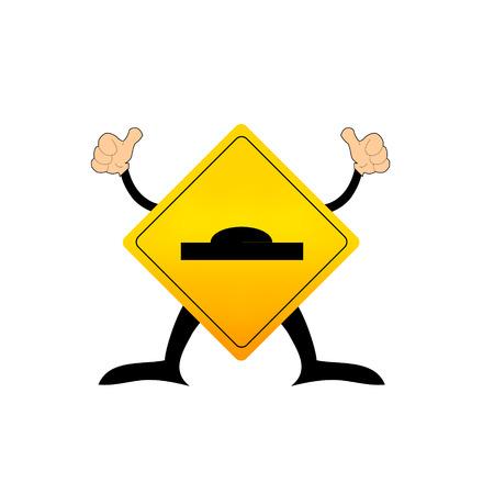 road warning sign: carretera se�al de advertencia con la calle Salto superficie
