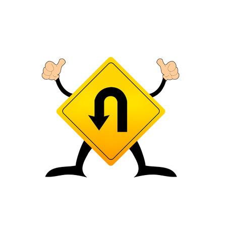 uturn: U-Turn Roadsign - Yellow road sign with turn symbol isolated on white background