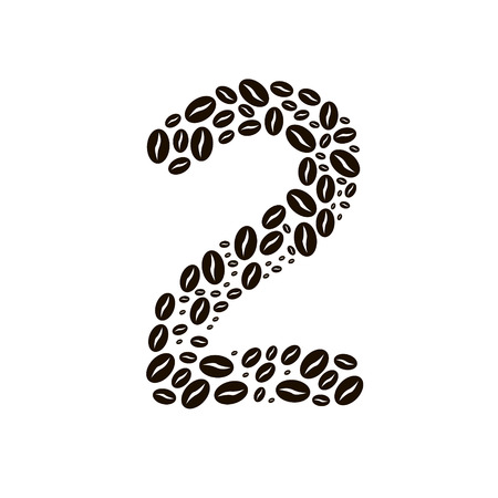 poured: Number 2 made of coffee beans vector set