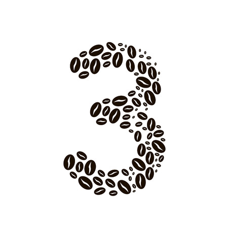 poured: Number 3 made of coffee beans vector set Illustration