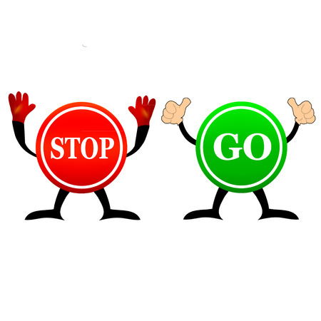 Stop and Go sign in illustration Vectores