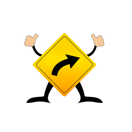 curve ahead sign: Traffic sign vector