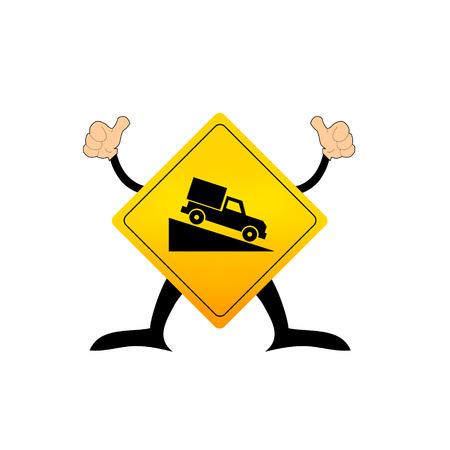 steep: Steep grade hill ahead warning roadsign