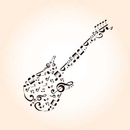 frets: Concepto de guitarra M�sica hecha con s�mbolos musicales para el dise�o del cartel