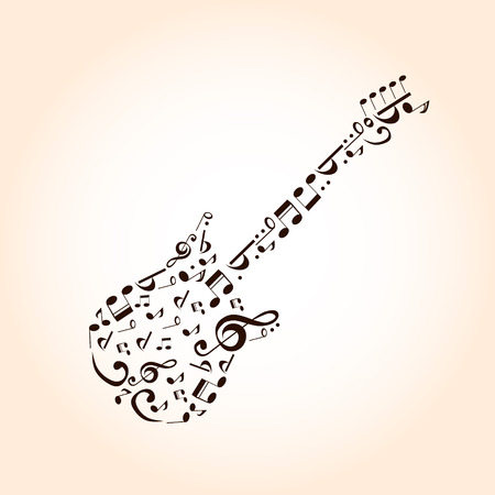 Music guitar concept made with musical symbols for poster design Vector