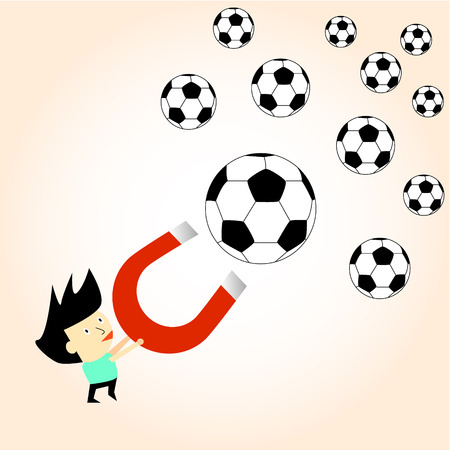 magnetic field: football ball attracted with magnet magnetic field vector illustration