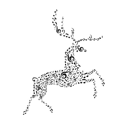 The deer music notes Vector