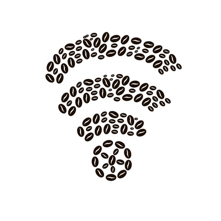 time sharing: coffee beans on white background in Wireless Network Symbol