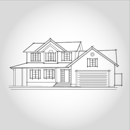 3D rendering wire-frame of house. White background.  イラスト・ベクター素材