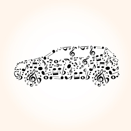 speed of sound: car from music notes Illustration