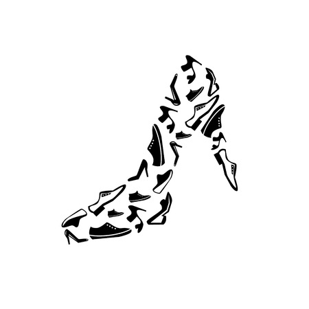 vector black shoes icons set on gray