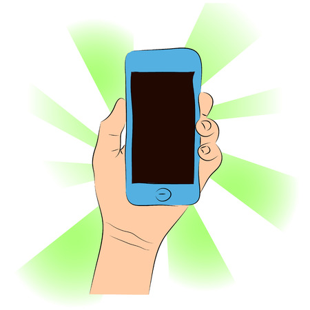 gsm phone: Cell phone (smartphone with touchscreen) in female hand vector drawing