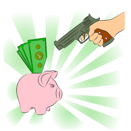 Man pointing a gun at a piggy bank Vector
