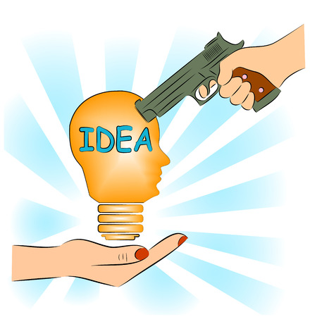 plagiarism: Man pointing a gun at the idea. Illustration