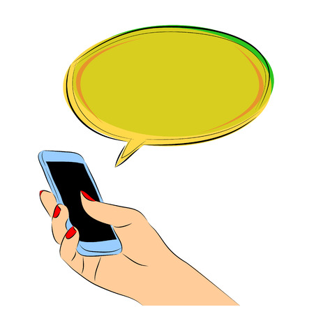 Hand holding speech bubbles chat. Vector