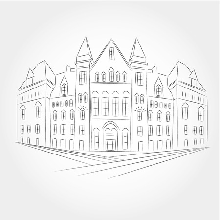 magyar: Drawing gothic style building of the old city Hall in Toronto.