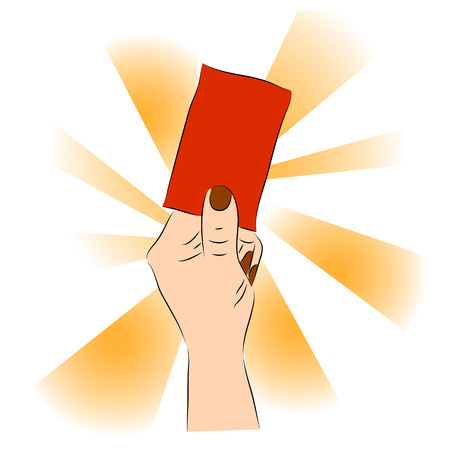 Hand of a judge or referee showing red card vector images Vector