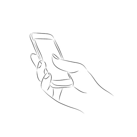 holding smart phone: hand holding a smart phone Illustration