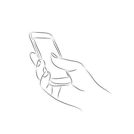 hand holding smart phone: hand holding a smart phone Illustration