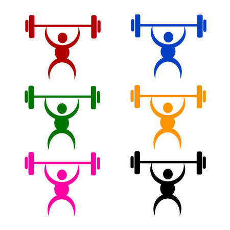 dumbell: weightlifting sign or symbol; isolated on white background.