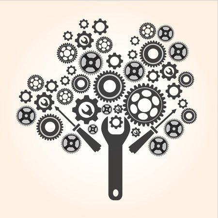 Industrial innovation concept tree made from cogs and gears isolated vector illustration